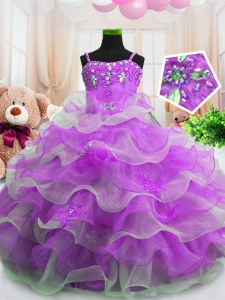 Low Price Purple Ball Gowns Organza Spaghetti Straps Sleeveless Beading and Ruffled Layers Floor Length Zipper Girls Pageant Dresses