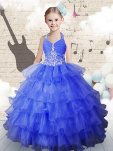 Halter Top Sleeveless Beading and Ruffled Layers Lace Up Child Pageant Dress