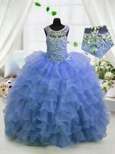 Affordable Light Blue Ball Gowns Organza Scoop Sleeveless Beading and Ruffled Layers Floor Length Lace Up Little Girl Pageant Dress