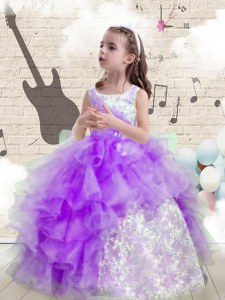 Wonderful Scoop Beading and Ruffled Layers Little Girls Pageant Dress Wholesale Eggplant Purple Lace Up Sleeveless Floor Length