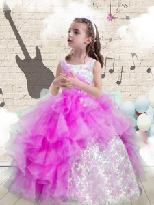 Exquisite Scoop Sleeveless Kids Formal Wear Floor Length Beading and Ruffled Layers Purple Organza