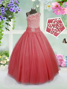 Ball Gowns Little Girls Pageant Gowns Watermelon Red Asymmetric Tulle Sleeveless Floor Length Side Zipper