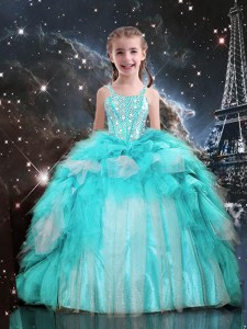 Top Selling Aqua Blue Spaghetti Straps Neckline Beading and Ruffles Kids Formal Wear Sleeveless Lace Up