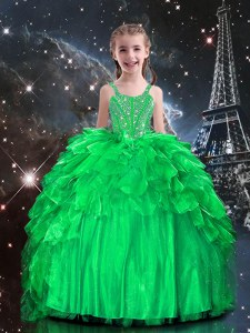 Trendy Spaghetti Straps Sleeveless Little Girls Pageant Gowns Floor Length Beading and Ruffles Apple Green Organza