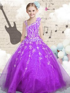 New Arrival Sleeveless Beading and Appliques and Hand Made Flower Lace Up Kids Formal Wear
