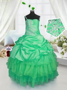 Classical Floor Length Apple Green Pageant Gowns For Girls Satin and Tulle Sleeveless Beading and Ruffled Layers and Pick Ups