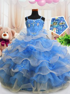 Charming Blue Sleeveless Floor Length Beading and Ruffled Layers Zipper Little Girls Pageant Gowns