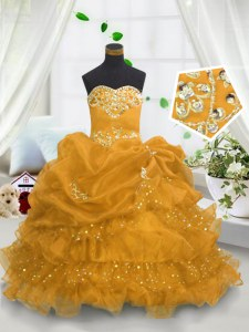 Gold Sweetheart Neckline Beading and Ruffled Layers and Pick Ups Child Pageant Dress Sleeveless Lace Up