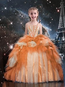 Perfect Ruffled Spaghetti Straps Sleeveless Lace Up Kids Formal Wear Gold Tulle