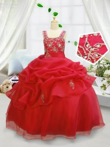 Coral Red Ball Gowns Organza Straps Sleeveless Beading and Pick Ups Floor Length Lace Up Little Girls Pageant Dress Wholesale