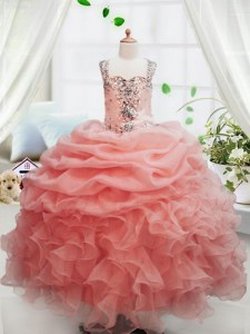 Sleeveless Floor Length Beading and Ruffles and Pick Ups Zipper Kids Formal Wear with Peach