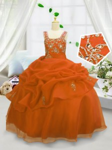 Pick Ups Floor Length Ball Gowns Sleeveless Orange Pageant Gowns For Girls Lace Up