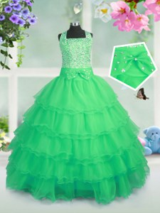 Wonderful Ruffled Sleeveless Organza Zipper Pageant Gowns For Girls for Party and Wedding Party