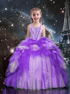 Floor Length Lace Up Little Girl Pageant Gowns Purple for Party and Wedding Party with Beading and Ruffles