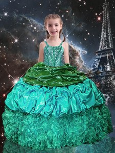 Customized Sleeveless Floor Length Beading and Ruffles Lace Up Little Girls Pageant Dress with Green