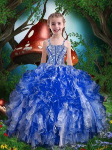 Floor Length Ball Gowns Sleeveless Royal Blue Little Girl Pageant Dress Lace Up