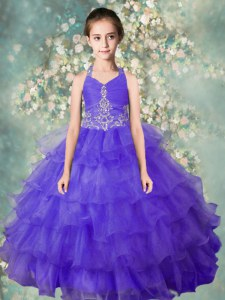 Blue Ball Gowns Organza Halter Top Sleeveless Beading and Ruffled Layers Floor Length Zipper Little Girl Pageant Gowns