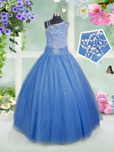 Best Baby Blue Sleeveless Tulle Side Zipper Pageant Gowns For Girls for Party and Wedding Party