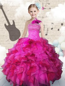 One Shoulder Hot Pink Organza Lace Up Kids Formal Wear Sleeveless Floor Length Beading and Ruffles