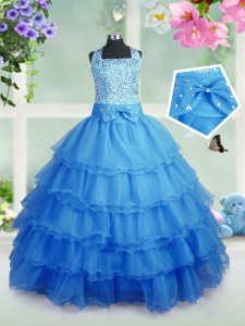 Attractive Ruffled Square Sleeveless Zipper Little Girl Pageant Dress Baby Blue Organza