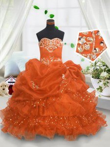 Orange Sweetheart Lace Up Beading and Ruffled Layers and Pick Ups Kids Formal Wear Sleeveless