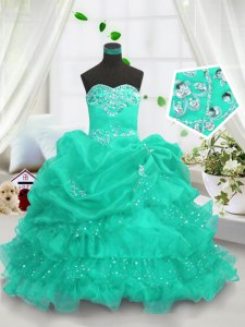 Sweetheart Sleeveless Organza Little Girls Pageant Gowns Beading and Ruffled Layers and Pick Ups Lace Up