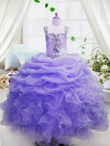 Sweet Pick Ups Floor Length Ball Gowns Sleeveless Lavender Kids Pageant Dress Zipper