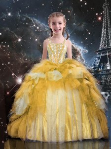 Dramatic Gold Lace Up Little Girls Pageant Dress Beading and Ruffled Layers Sleeveless Floor Length