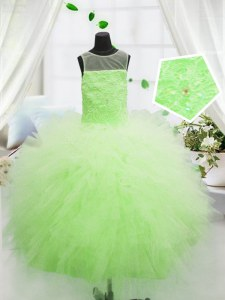 Customized Scoop Yellow Green Tulle Zipper Little Girls Pageant Dress Sleeveless Floor Length Beading and Appliques