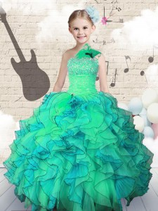 Exquisite One Shoulder Floor Length Ball Gowns Sleeveless Turquoise Kids Formal Wear Lace Up