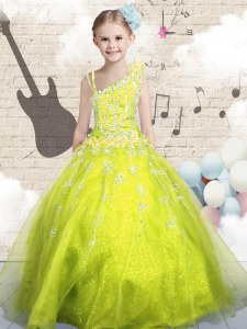 Sleeveless Floor Length Beading and Appliques and Hand Made Flower Lace Up Pageant Gowns For Girls with Yellow Green