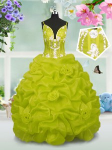 Best Yellow Green Ball Gowns Beading and Pick Ups Little Girls Pageant Gowns Lace Up Taffeta Sleeveless Floor Length