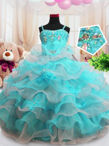 Superior Floor Length Aqua Blue Little Girls Pageant Gowns Organza Sleeveless Beading and Ruffled Layers