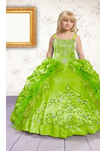 Discount Spaghetti Straps Sleeveless Kids Formal Wear Floor Length Beading and Appliques and Pick Ups Apple Green Satin