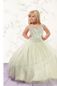 Strapless Sleeveless Kids Pageant Dress Floor Length Beading Apple Green Tulle