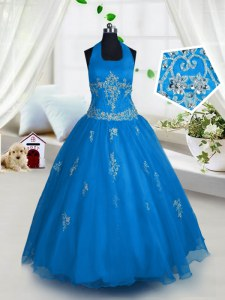 Halter Top Sleeveless Floor Length Appliques Lace Up Pageant Gowns For Girls with Aqua Blue