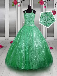 Sleeveless Sequined Floor Length Lace Up Little Girls Pageant Gowns in Green with Sequins