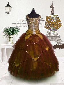 Excellent Brown Lace Up Kids Formal Wear Beading and Belt Sleeveless Floor Length