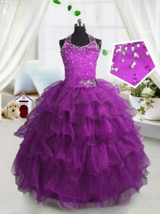 Beautiful Scoop Sleeveless Floor Length Beading and Ruffled Layers Lace Up Little Girl Pageant Gowns with Fuchsia