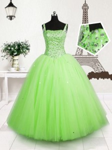 On Sale Apple Green Little Girls Pageant Gowns Party and Wedding Party and For with Beading and Sequins Straps Sleeveless Lace Up