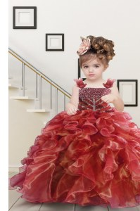 Beading and Ruffles Little Girl Pageant Gowns Watermelon Red Lace Up Sleeveless Floor Length