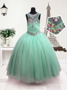 Latest Scoop Turquoise Sleeveless Floor Length Beading Zipper Pageant Gowns For Girls