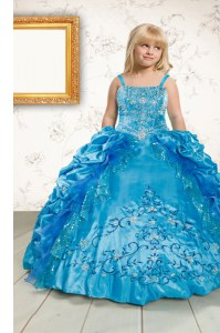 Sleeveless Beading and Appliques and Pick Ups Lace Up Kids Pageant Dress