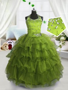 Perfect Ruffled Floor Length Olive Green Pageant Gowns For Girls Scoop Sleeveless Lace Up