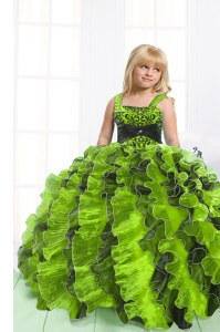 Amazing Straps Sleeveless Child Pageant Dress Floor Length Beading and Ruffles Yellow Green Organza