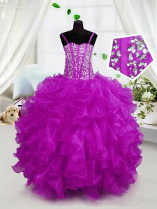 Customized Spaghetti Straps Sleeveless Little Girls Pageant Dress Floor Length Beading and Ruffles Hot Pink Organza