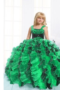 Elegant Organza Straps Sleeveless Lace Up Beading and Ruffles Little Girls Pageant Dress in Green