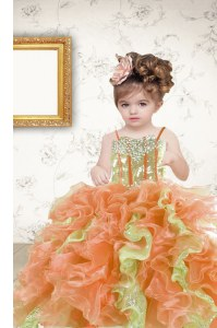 Floor Length Multi-color Kids Formal Wear Organza Sleeveless Beading and Ruffles and Sequins