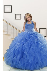 Latest Blue Organza Lace Up Halter Top Sleeveless Floor Length Girls Pageant Dresses Beading and Ruffles