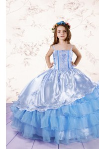 Attractive Sleeveless Embroidery and Ruffled Layers Lace Up Little Girls Pageant Dress